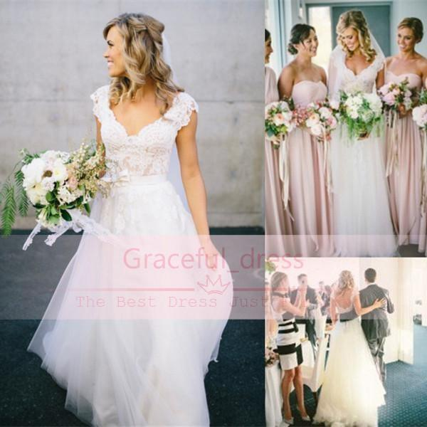 Discount Bohemian Hippie Style Wedding Dresses For Uk Full Lace V ...
