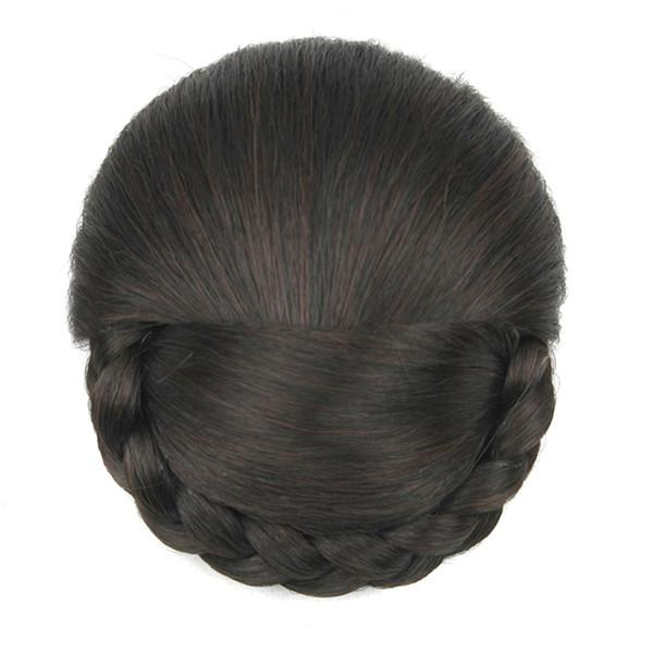 2017 6 Colors Synthetic Hair High Temperature Fiber Braided Chignon Clip In Hair Bun Donut Roller Hair Piece