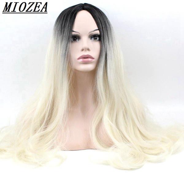 Hair Synthetic Long Wavy Wig Heat Resistant Hair Golden Ombre Black Root Women Wigs 24inch