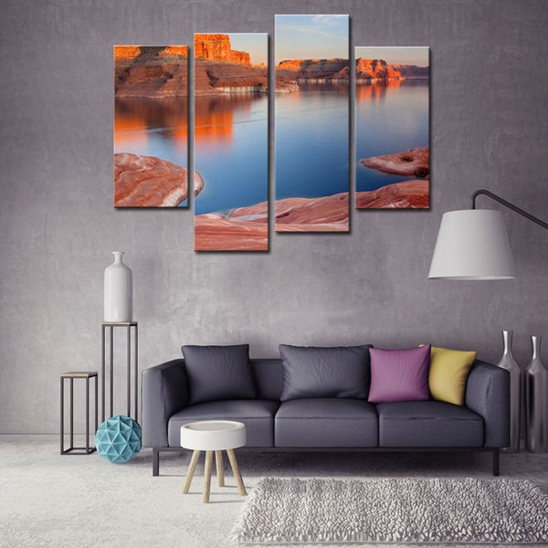 4 Pieces Modern Canvas Painting For Home Lake And Canyon At The Grand Canyon Landscape Canyon Print On Canvas Giclee Artwork
