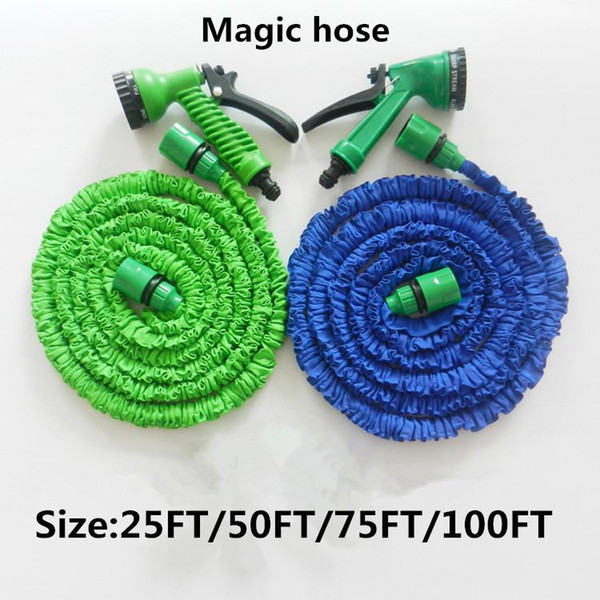Factory Supply Plastic Materials A+Quality 25FT-100FT Blue Water Spray Nozzle Sprayers &Expandable Flexible Water hose Garden Pipe Set