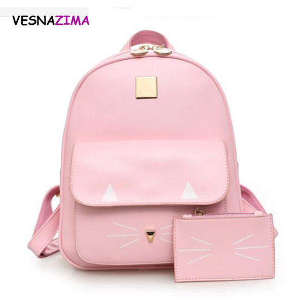 Hot Cat Printing Backpack PU Leather Large Backpacks 2pcs/set Women School Bag for Teenage Girls Children Book Bag Mochila WM04X