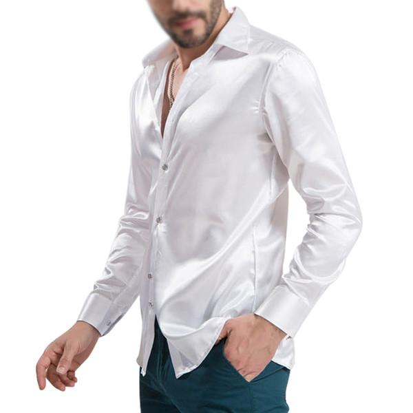 top popular Wholesale-New Arrival Custom Made Any Colors Elastic Silk like Satin Men Wedding Shirt Groom Shirts Wear Bridegroom Slik Shirt For Men 2020