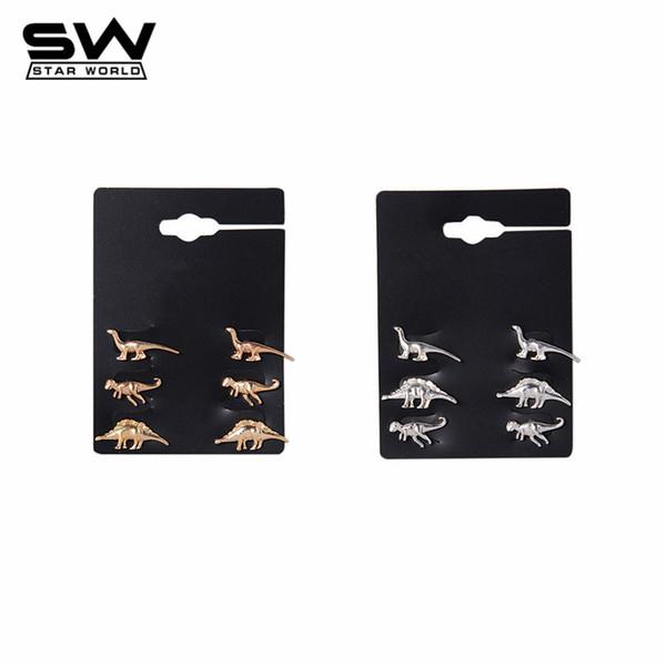 STARWORLD fine stud earrings animal dinosaur metal stud earring wedding engagement jewelry earrings for women men 3 Pairs/Set