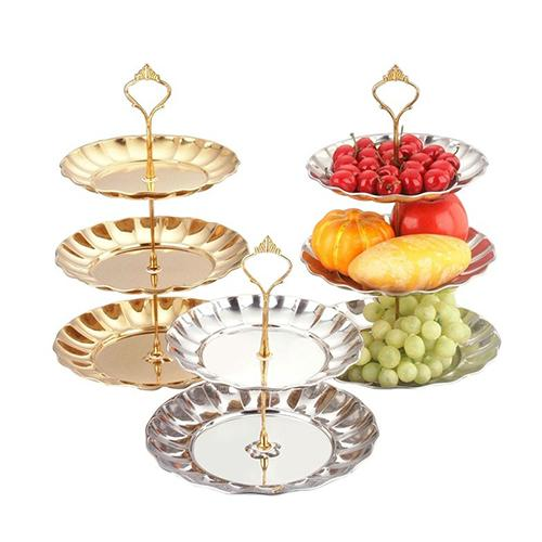 Stainless Steel Golden/Silver 2 Or 3 Tier Fruit Cake Dessert Plate Candy Stand