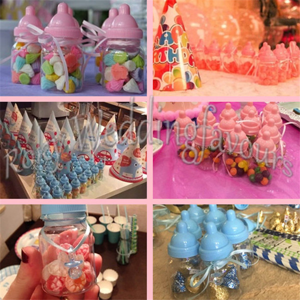 FREE SHIPPING 600PCS Mix Pink/Blue Baby Bottle Candy Boxes Baby Feeding Bottle Wedding Favors and Gifts Box Baby Shower Baptism Decoration