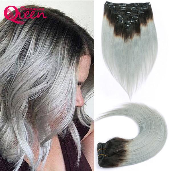 1B / Gümüş Gri Renk Düz İnsan Saç Brezilyalı Ombre Brezilyalı Virgin İnsan Saç Uzantıları Klip 7 Adet / takım 120g Klipler