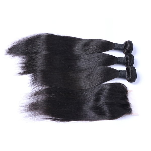 8A Straight Hair 3 Wefts With Three Part Lace Closure Brazilian Human Hair Bundles With 4*4 Top Closure 4Pcs Lot