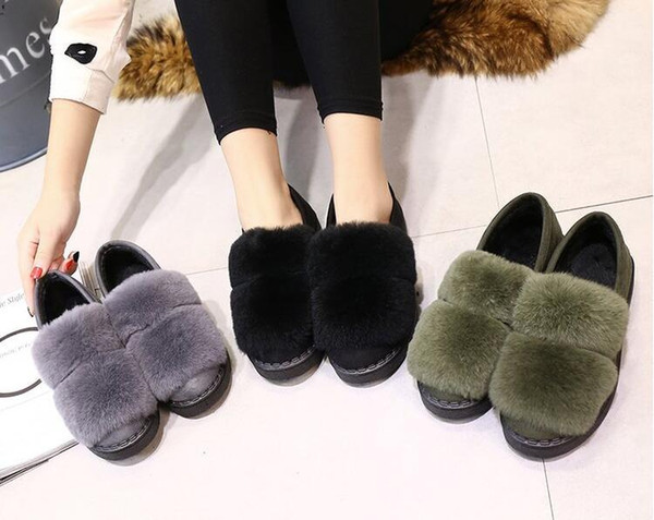 Hot Sale Shoes Women Boots Solid Slip-On Soft Cute Women Snow Boots Round Toe Flat with Winter Fur Ankle Boots cony hair slipper