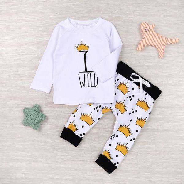 Mikrdoo Autumn New Baby Clothes 2Pcs Newborn Kids Baby Boy Girl WILD T-Shirt Tops Crown Long Pants Outfits Clothes Cotton Top Set Wholesale