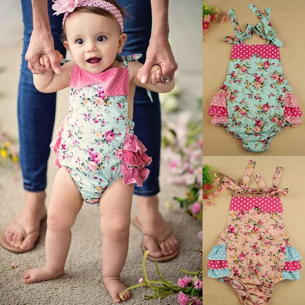100% Cotton Baby Flora Rompers With Headband Girl Bloomer Ruffle Kids Shirt Flowers Sunsuit Baby Sleeper 4pcs(2pcs rompers+2pcs hair bands)