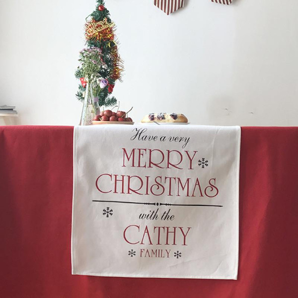 BZ392 European Christmas theme table runner table cloth soft fabrics linen and cotton home textile holiday gift