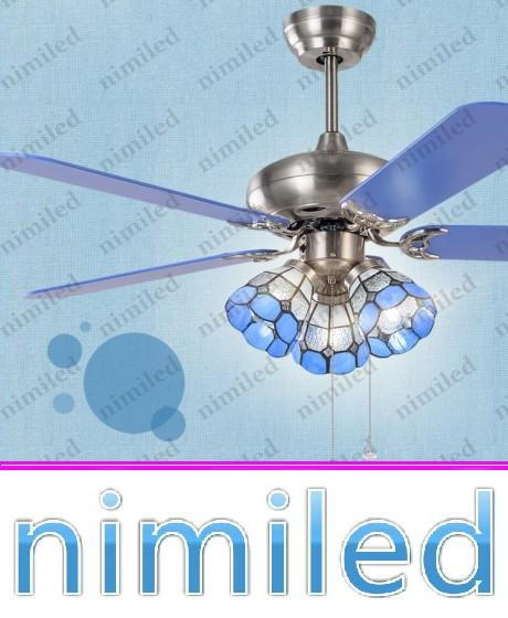 "top popular nimi927 42"" 48"" Mediterranean Fan Tiffany Chandelier Lighting Living Room Ceiling Fan LED Lights Restaurant Wooden Blades Pendant Lamps 2021"
