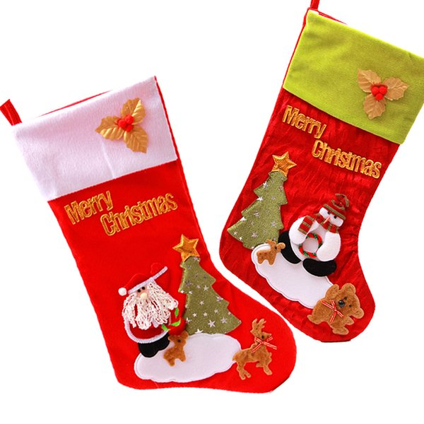 30pcs a lot kids favourite christmas stocking velvet christmas socks gift bags 2 colors in red - Red Velvet Christmas Stockings