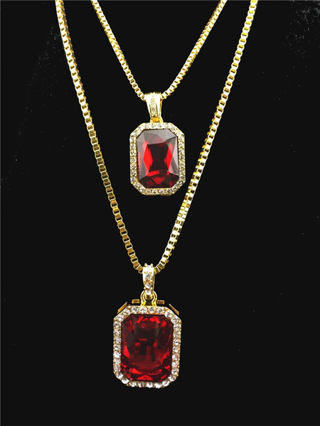 top popular Square Iced Out Hip Hop Lab Diamond Pendant Chain Necklace Set Silver Stone Rapper Pendant with 24 2020