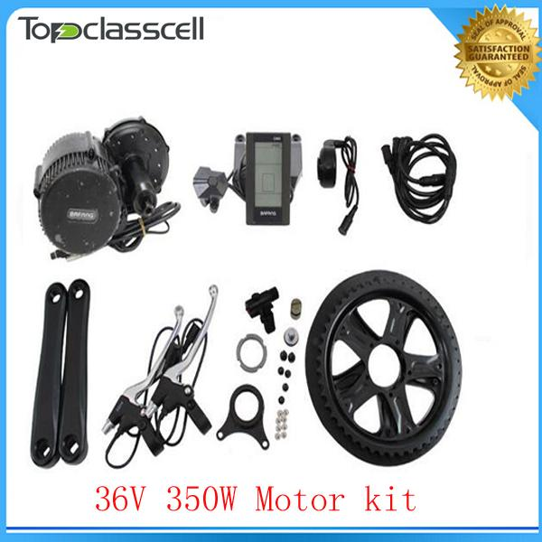 EU No Tax 36V 350W BAFANG Brushless Geared Mid-Drive Motor eBike Conversion Kits with integrated Controller and LCD Display-C965