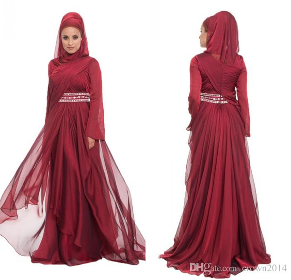 Burgundy Chiffon Formal Long Maxi Lace Appliques Evening Dresses With Hijab Long Sleeve 2017 Beaded Pleated Layered Ruffle Arabic Muslim Dre