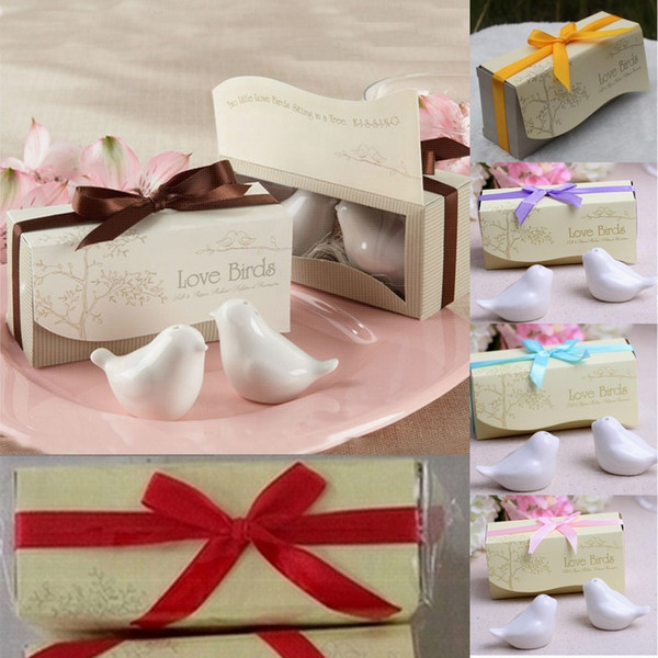 best selling DHL Free Shipping 100 pcs=50 set   party Love bird salt and pepper wedding gifts gifts 7 type of ribbon can choose