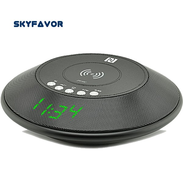 Alarm Clock display wireless bluetooth speaker qi wireless charger fm radio Hands-free power bank NFC TF AUX portable bluetooth for iphone x