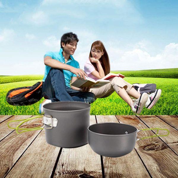 Wholesale- Portable Picnic Camping Hiking Backpacking Home Cooking Pot Bowl Cookware Set folding handles Bowl + Pot Kitchen Cooker Tools