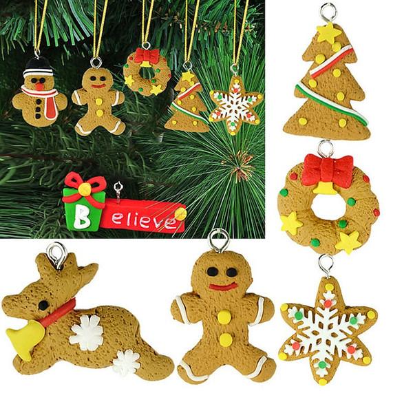 6pcs/set Beautiful Hanging Ornament Decor Polymer Clay Drop Pendants Christmas Tree Baubles Christmas Tree Decoration WA1021