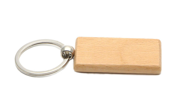 Blank Wooden Key Chain Rectangle Key ring personalized keychain Can be engraved logo 2.25''*1.25'' 25Pcs /Lot KW01C Free Ship