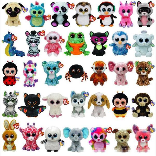 best selling 35 Design Ty Beanie Boos Plush Stuffed Toys 15cm Wholesale Big Eyes Animals Soft Dolls for Kids Birthday Gifts ty toys B001