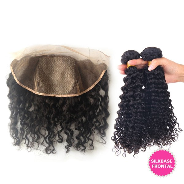 Brazilian Deep Curly Hair 3Bundles With Silk Base Frontals 4Pcs Lot Brazilian Deep Curly 13x4 Silk Top Full Lace Frontal With Weaves
