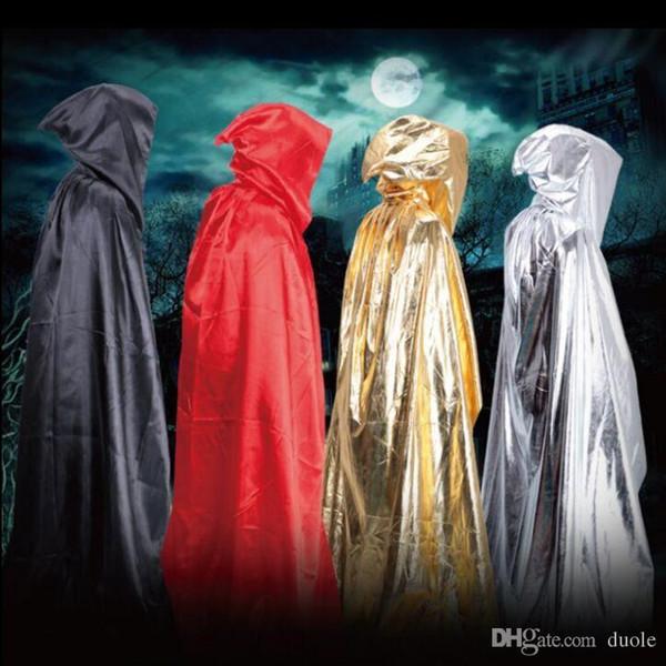 2017 Sorcerer cloak 4 color Halloween Costume cosplay Theater Prop Death Hoody Cloak Devil Long Tippet Cape Free FedEx DHL