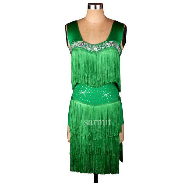 Tassels Latin Dance Dress Women Girls Latin Salsa Dance Competition Dresses Samba Dance Costumes D0125 Rhinestones