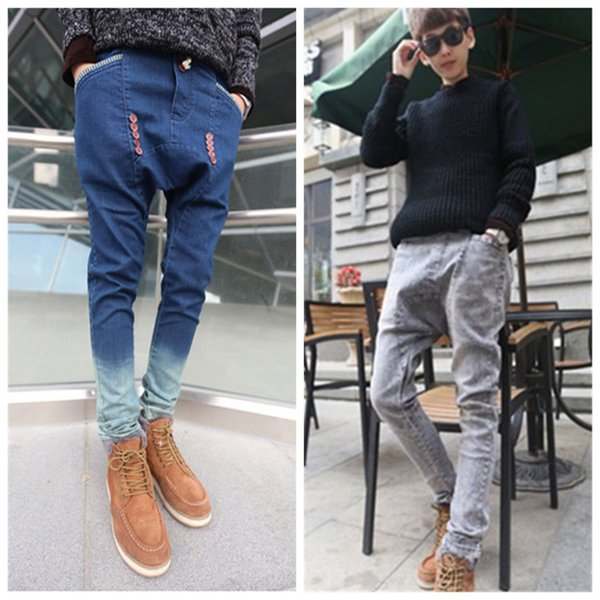 2019 Male Hiphop Low Drop Crotch Pants Men Denim Jeans Harem Hip Hop Pants Sarouel Men Baggy Pants Stretch Trousers Loose Pantalon From