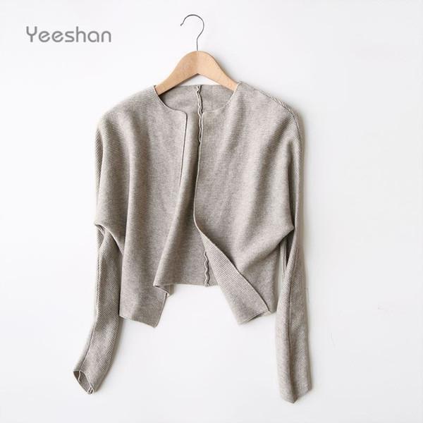 Yeeshan Wool Short Coat Female Autumn O-Neck Full Sleeve Solid Wool-Cotton-Blend Oversized Casual Cardigan for Women Jacket