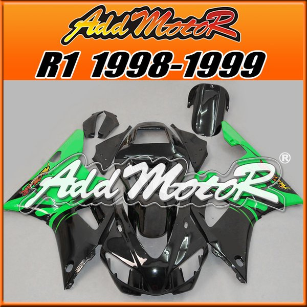 Five Free Gifts!! Addmoto Hot-Sell Injection Mold Plastic Fairings Kit For Yamaha YZF-R1 1998-1999 Body Kit Green Black Y1829