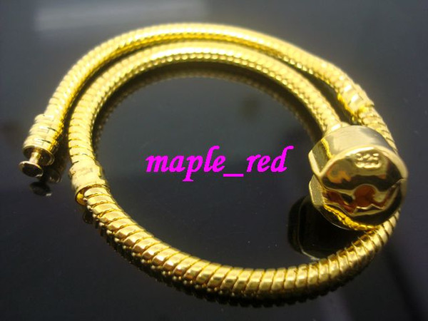 Wholesale in Bulk Low Price 10pcs/Lot Copper Gold Stamp 925 Snake Chain Bracelets Fit European Charm Beads 16cm to 23cm