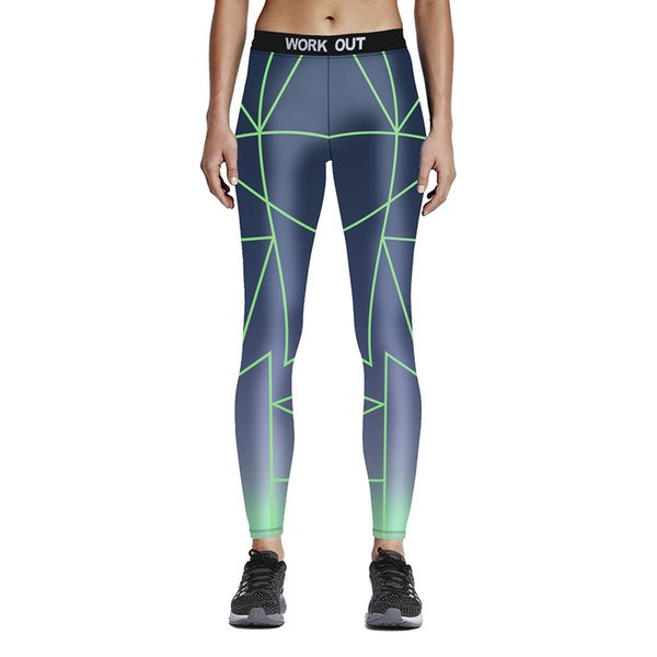 Womens Green Cross Lines Print Sports Yoga Fitness Leggings Pencil Pants Digital Printing Work Out Active Elastic Slim Skinny Trousers Pants