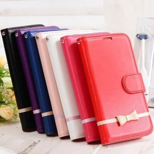 Fashion Luxury High Quality Flip Leather bow knot Phone Cover Case For Samsung Galaxy S5/S3/S4/S6/S6 Edge/S6 Edge With Stand