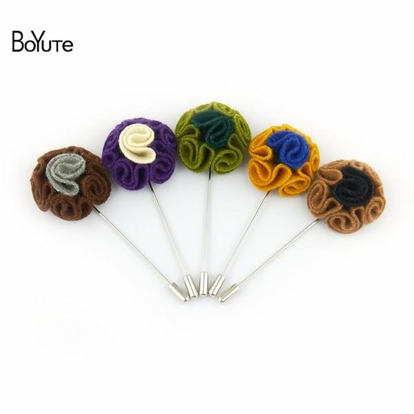 BoYuTe 10Pcs Lapel Flower Men Pin Handmade Flower Brooch Wholesale Wedding Laped Pin for Men Suit Christmas Pin 20 Colors