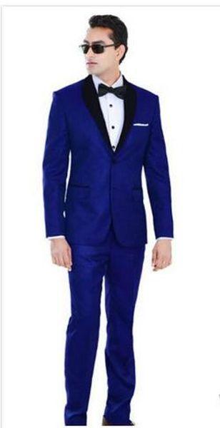 Тонкий королевский синий свадебные смокинги для жениха и жениха черный платок лацкан выпускного вечера костюмы две кнопки мужские костюмы (куртка + брюки + лук)