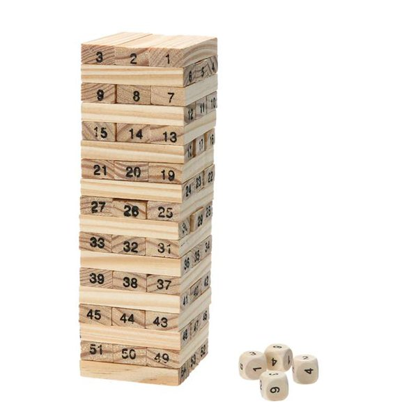 Wooden Tower Building Blocks Toy 54pcs Domino+4pcs Stacker Extract Building Kids Educational Toy Creative Family Game Xmas Gift
