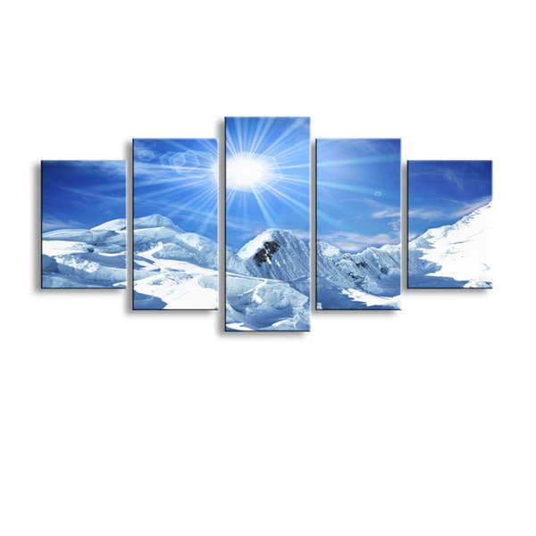 5 pieces high-definition print Snow mountain scenery canvas oil painting poster and wall art living room picture PL5-209