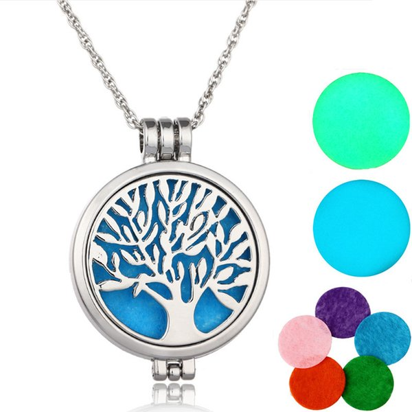 Fashion Tree of life Essential Oil Perfume Diffuser Locket Pendant Necklace Glow in the Dark with chain and 5pcs Felt Pads