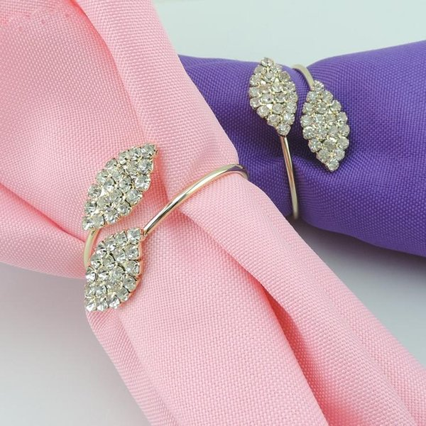 Bling Crystal Rhinestone Leaf Napkin Rings Metal Wedding Napkin Ring holder for Hotel Wedding Banquet Table Decoration Accessories DHL ship