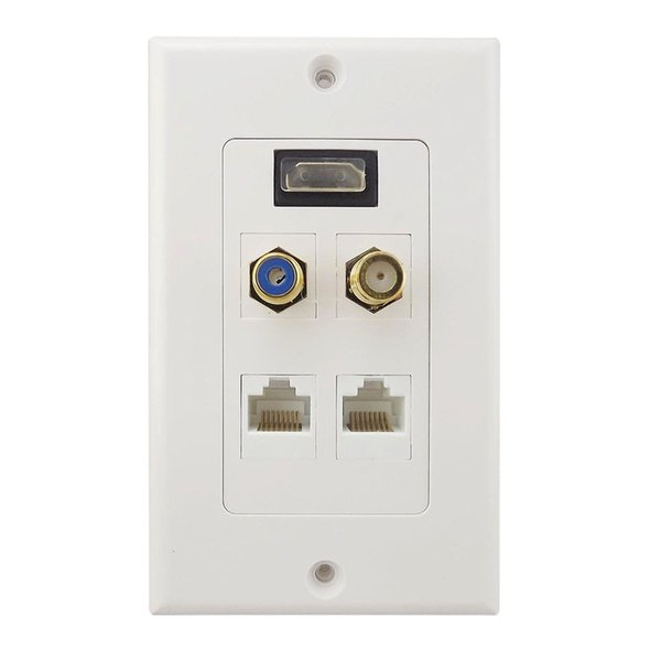 HDMI+F+RCA+2* RJ45 LAN Network Female Audio Video Wall Plate Socket Outlet Face Panel 1080P HDTV 5 Ports White ABS