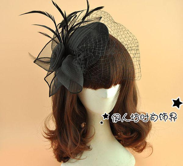 Black Fascination Hat Feather Birdcage Veils Black Wedding Veil Princess Wedding Vintage Hats Woman White Veil Top Hat