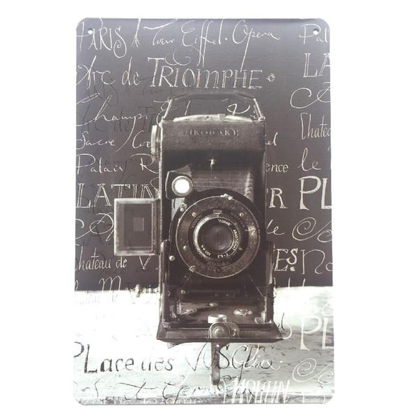 Cámara que toma fotos Retro Vintage cartel de cartel de chapa metálica para hombre Cave Garage etiqueta engomada de la pared shabby chic Cafe Bar decoración del hogar