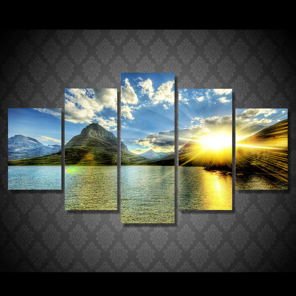 5 Pcs/Set HD Printed Sunset Lake Mountain Painting Canvas Print room decor print poster picture canvas oil art painting