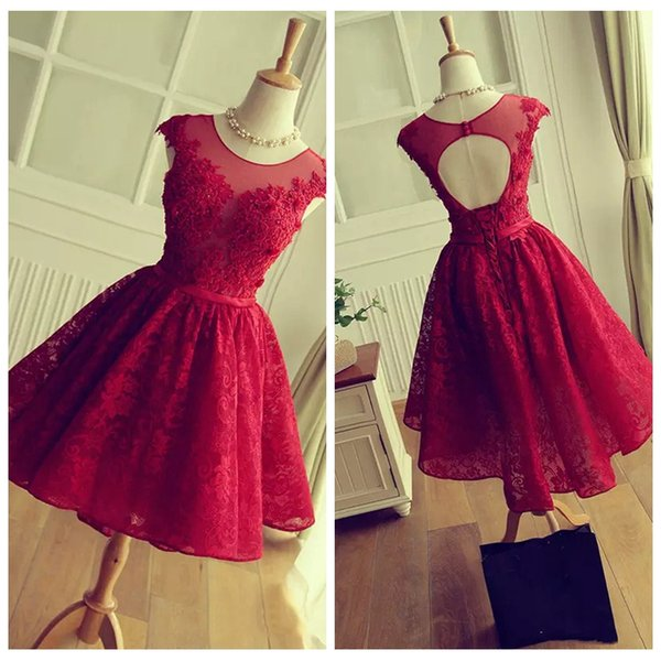 2018 Red Lace Vintage Abendkleider Real Pictures Prom Party Gowns ...