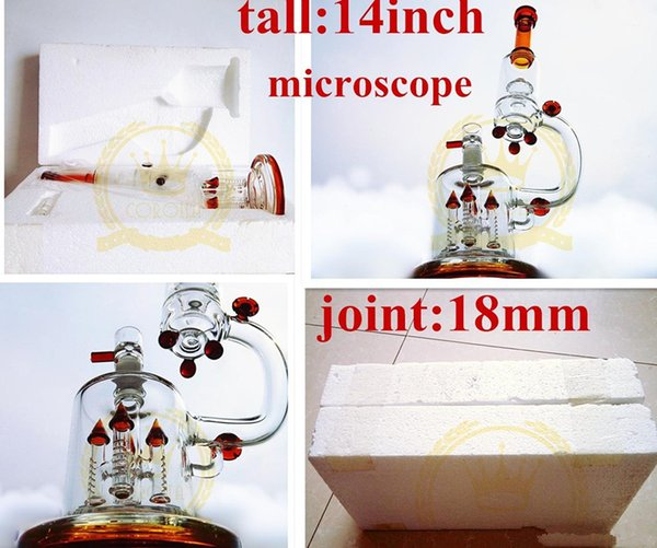 "Factory microscope Glass Bong form 14""inches Glass water pipes with rocket perc and UFO perc 18.8mm joint"