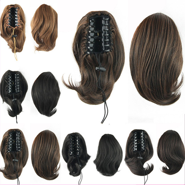 Natural 10inch Kindly Malaysian Weave Hair Clip In Fake Ponytail