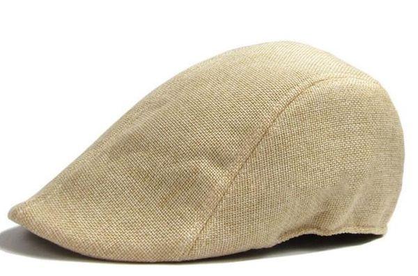 Herren Damen Hüte Mützen Baskenmütze Baumwolle VINTAGE Leinen Sonnenschutzkappe